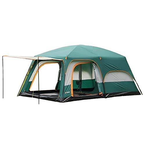 XBR Großes Zelt Camping, Campingzelt Spacious UV Protection Zwei Zimmer und EIN Wohnzimmer im Freien Zelt6-8 Personen Camping Wandern Windproof Wasserproof Regensicher Zelte (Grün