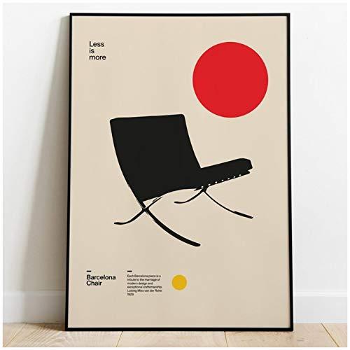 Xiangll Póster Barcelona Silla Ludwig Mies Van Der Rohe Mobiliario Bauhaus Diseño Impresión En Lienzo-50X70Cm Sin Marco