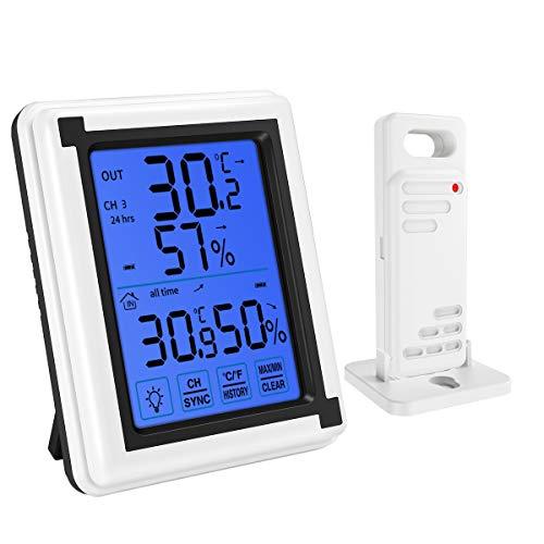 Brifit Buiten Thermometer, Digitale Kamer Thermometer Vochtigheids Meter met Draadloze Sensor, Nauwkeurige Hygrometer Thermometer met Touchscreen, Achtergrondverlichting