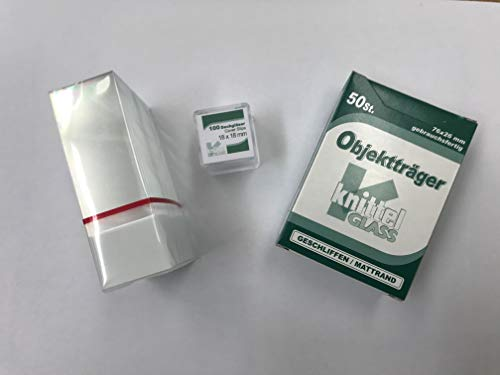 Mikroskop Objektträger 76 x 26mm (50 Stück) und Deckgläser 18 x 18mm (100 Stück), mit Mattrand, geschliffene Kanten. Made in Germany, ISO Zertifiziert, 1A Qualität
