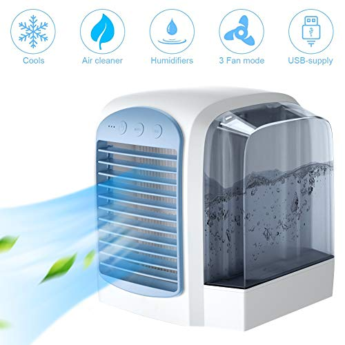 MOZX Mobile Klimageräte, Persönliche Luftkühler Klimaanlage Mit 3 Geschwindigkeiten, Luftbefeuchter Luftreiniger Mit USB-Aufladung, Mini Luftkühler Mit Wasserkühlung, Für Das Home Office
