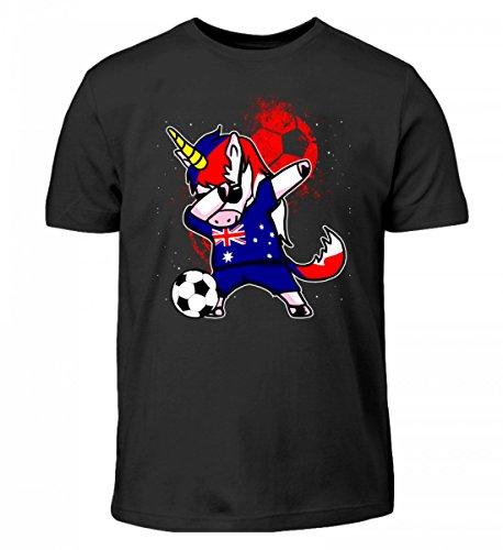 Hochwertiges Kinder T-Shirt - Dabbendes Einhorn Australien Edition - Australien/Fußball Trikot/Nationalmannschaft