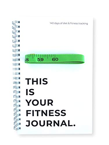 Workout Fitness Journal – Weight Loss & Exercise Notebook Planner, Fitness Tracker Log for Bodybuilding & Weight Training Includes 60-Inch Body Measurement Tape – 6 x 9 Inches, 145 Entry Pages
