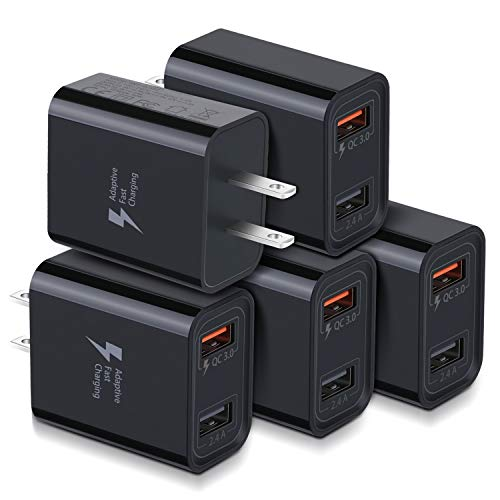Quick Charge 3.0 USB Wall Charger, Costyle 5 Pack 30W Dual 2 Ports Adapter (QC 3.0 & 5V 2.4A) Adaptive Fast Charging Block Compatible for iPhone 11 XS XR, Samsung Galaxy S10 S9, iPad, HTC, LG (Black)