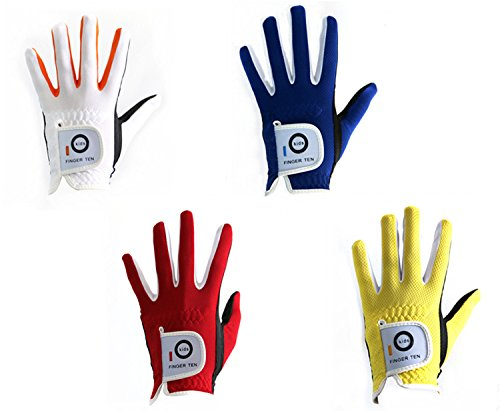Finger Ten Junior Kinder Dura Feel Golf-Handschuhe, weiß blau rot gelb, 2er-Pack, weiß, Medium Left