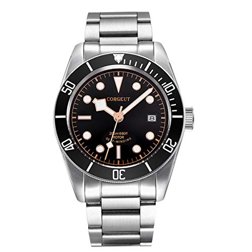 Men Automatic Watches Sapphire Crystal Black Dial Waterproof Watch with Date, Japanese Movement, Luminous