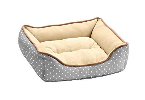 HUNTER White Dots Hunde- und Katzensofa, mit Wendekissen, sehr weich, 40x40 cm, grau/beige, gepunktet