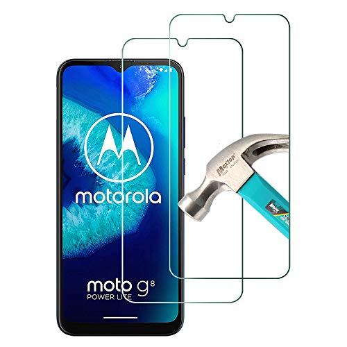 TQmate 2 Stück, Bildschirmschutzfolie für Motorola Moto G8 Power Lite, HD Panzerglas, Kratzfest, 9H Festigkeit, Einfach anzubringende Folie