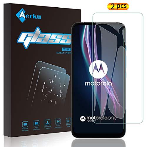 Aerku Protector de Pantalla para Motorola Moto One Fusion Plus [2 Piezas], 9H Dureza Alta Sensibilidad 2.5D[Sin Burbujas] Cristal Templado Protector de Pantalla para Moto One Fusion +[Transparente]