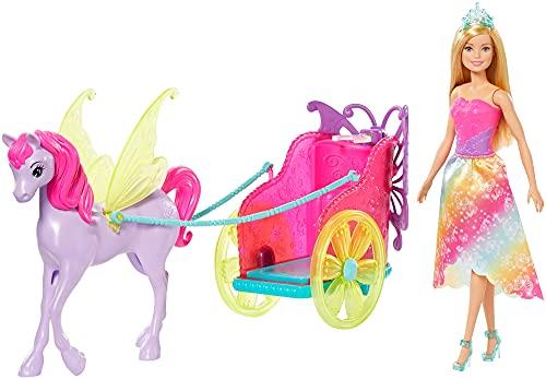 Barbie Dreamtopia Coffret poupée princesse blonde et sa calèche 2-en-1 tirée par un pégase, jouet pour enfant, GJK53