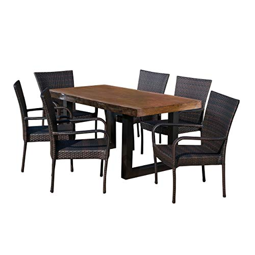 Christopher Knight Home 303808 Feinberg Fern Outdoor 7 Piece Stacking Wicker Dining Set Finish Light Weight Concrete Table, 7-Pcs, Antique Teak/Black/Multibrown