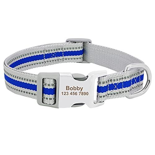 JIETAOMY Collar Perros Cuello de Perro de Nylon Personalizado Pet Cachorro Placa de identificación Collares de Etiqueta reflexivo ID Grabado (Color : Blue, Size : L)