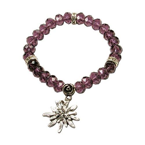 Alpenflüstern Perlen-Trachten-Armband Fiona Crystal mit Strass-Edelweiß - Damen-Trachtenschmuck, elastische Trachten-Armkette, Perlenarmband lila-violett DAB042