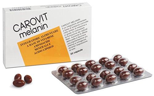 integratore alimentare per l'esposizione solare carovit melanin senza betacarotene 20 perle