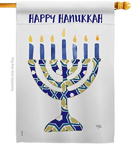 Breeze Decor Hanukkah Menorah House Flag Winter Candle Bonsai Jewish Chanukah David Decoration Banner Small Garden Yard Gift Double-Sided, Made in USA