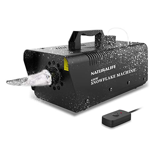 Naturalife Snow Machine, 650W High Output Snowflake Maker with Wired Remote Control Great Machine for Christmas Wedding Party Stage Effect
