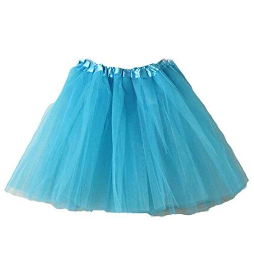 SHOBDW Mujeres Plisadas Falda de Gasa de Adultos Falda de Baile tutú Retro Rockabilly Enaguas Miriñaques Faldas (Cielo Azul a, One Size)