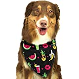 Gxdchfj Pineapple Lips Watermelon Banana Pattern Stylish Dog Bandanas Pet Dog Cat Neckerchief Dog...