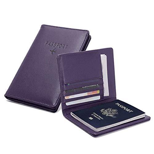 PALMFOX Funda de Cuero para Billetera, Pasaporte, Cubierta de Bloqueo RFID, Funda...