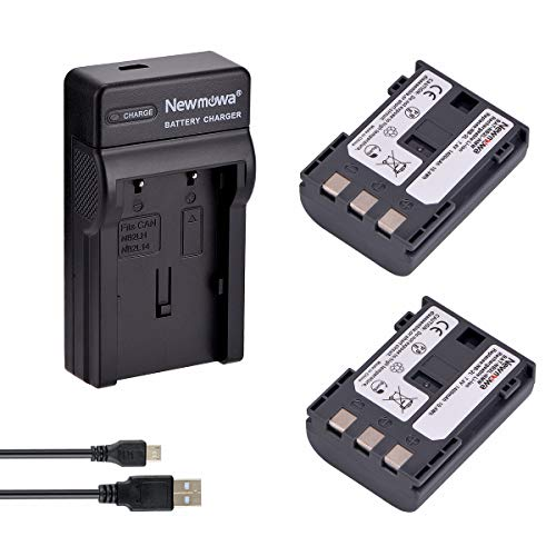 Newmowa NB-2L Batería (2-Pack) y Kit Cargador Micro USB portátil para Canon NB-2L NB-2LH BP-2L5 BP-2LH and Canon DC301 DC310 DC320 DC330 DC410 DC420 Elura 40 50 60 65 70 80 85 90 EOS 350D 400D