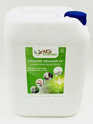 MGI DEVELOPPEMENT 10 L Vinaigre Blanc à 14° - pour Un Nettoyage sain - Qualité Professionnelle - Polyvalent: Nettoie, Dégraisse, Détartre (10 litres)