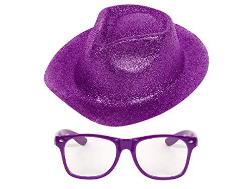 Alsino Glitzerhut Faschingshut Damen Nerdbrille Streberbrille Karneval Party Fasching Set Trillbillyhut mit Brille in Violett