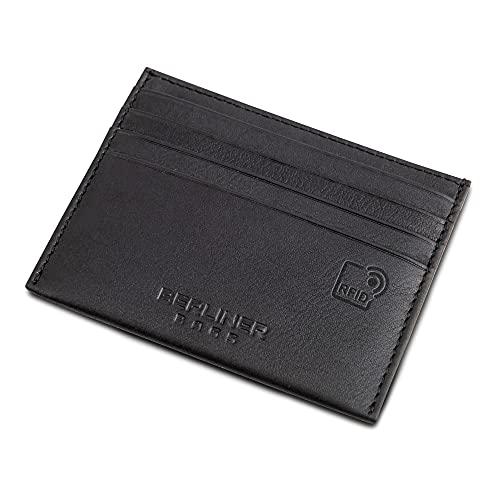 Berliner Bags Premium Kartenetui mit RFID-Schutz, Slim Kreditkartenhülle aus Leder mit Geschenkbox - Schwarz
