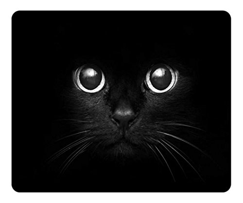 Personalized Unique Design Oblong Shaped Mouse Pad Black Cat