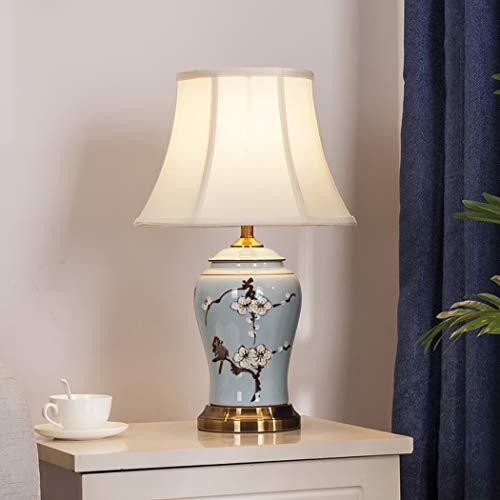 ZIXUAL Lámpara de mesaLámpara de Mesa de Tela de cerámica LED, lámpara de Noche de Dormitorio, Sala de Estudio Lámpara de decoración de Sala de Estar C