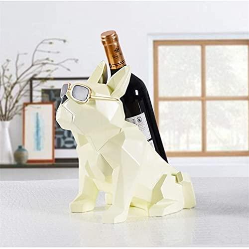 LATOO Decoración de la habitación Estatuas para la Decoración del Hogar,Moderno Creativo de Resina Blanco Geometría Bulldog Estantes de Vino Decoración de Escritorio, Forma de Animal, Figuras Escultur