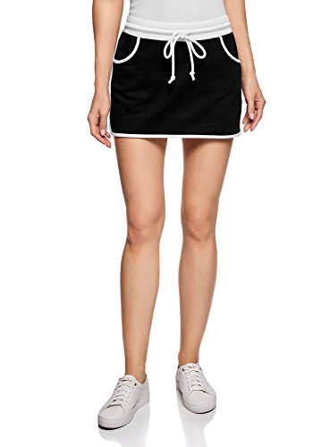 oodji Ultra Women's Jersey Skirt with Elastic Waistband, Black, XX-Large