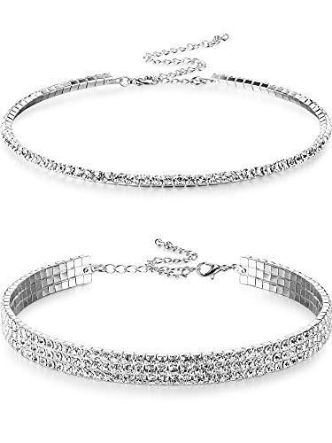 2 Pieces Rhinestone Choker Necklaces 1 and 3 Rows Women Crystal Choker Necklaces