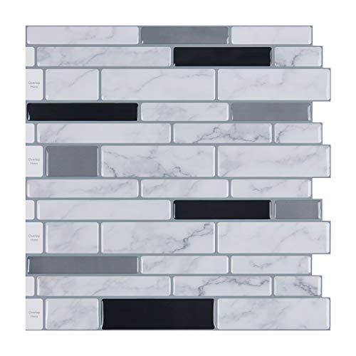 10-Sheet Peel and Stick Tile Backsplash, Vinyl 3D Self-Adhesive Tile Stickers for Kitchen, Bathroom,...