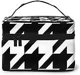 Bolsa de maquillaje grande con diseño de pata de gallo para mujer, portátil, organizador de viaje con cremallera de malla cepillo de bolsillo con asa para niña