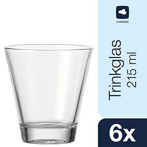 Leonardo Ciao Trink-Gläser, spülmaschinenfeste Wasser-Gläser, Trink-Becher aus Glas im modernen Stil, 6er Set, 215 ml, 035452