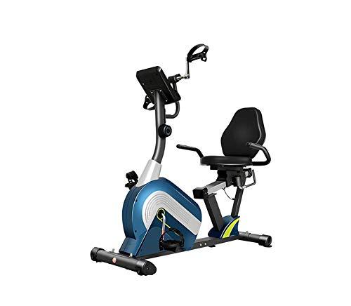 THj Bicicleta estática reclinada magnética, con Bluetooth, Asiento de Ajuste, Bicicleta estática con Resistencia de 8 Niveles