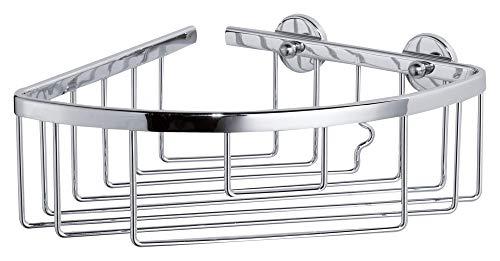tesa ALUXX Eckduschkorb, Aluminium, verchromt, garantiert rostfrei, inkl. Klebelösung, 92mm x 192mm x 200mm