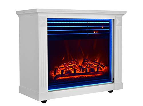 GMHome 23 Inches Electric Fireplace Freestanding Heater Moveable Electric Fireplace, 7 Changeable Backlight, Log Fuel Effect, with Remote, with Wheel, 1500 W - White