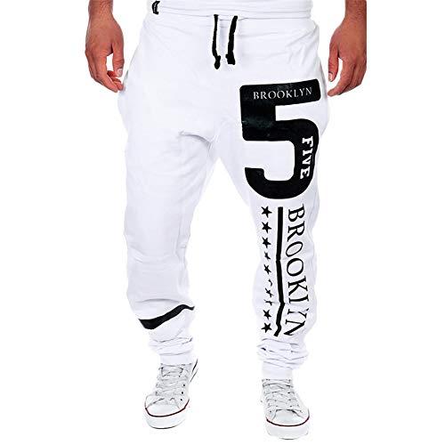 Rcool Herren Hose Cargo Jogging Pants Jeanshose Sport Hosen Slim Fit Freizeithose (L, WeißA)
