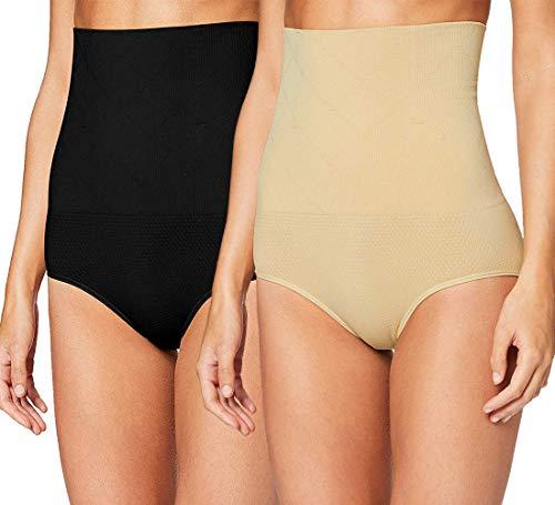 iloveSIA 2X Formende Slips Miederpants Schwarz+Ekrü Taillenformer Slim Panties Body Shaper Formender M