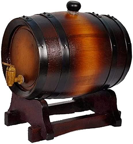 WSVULLD Whisky Barrel Roble Barril de vino de madera con soporte, dispensador de vino de estilo de estilo vintage para cerveza Whisky Ron Puerto de ron, barril de envejecimiento de roble (color: B, Ta
