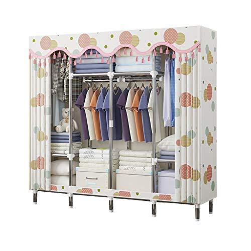 Kleiderschrank, Leinen, Kleiderschrank, mit Ablagefächern, Kleiderstange, Schlafzimmermöbel, metall, 170x46x170cm(A)