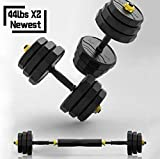 IRUI Adjustable Fitness Dumbbells Set, Free Weights Dumbbells with Connecting Rod Used As Barbell...