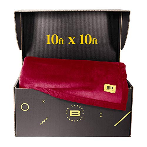 Big Blanket Co Original Stretch Crimson | 10x10 Extra Large Throw Blanket | Best Soft Giant Blanket for Mothers Day | Mothers Day Blanket | Gifts for Mom | Mom Gifts