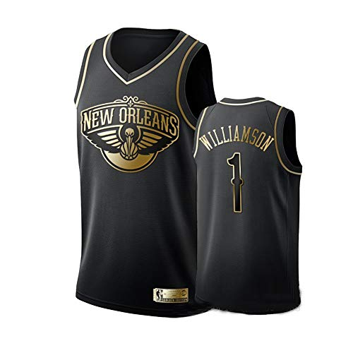 Zion Williamson Basketballtrikot für Männer, New Orleans Pelicans 1# Icon Edition Swingman Trikot, Polyester Breathable Fan Basketball Trikot-Adult Geburtstagsgeschenk für Männer-Black A-XXL(187~