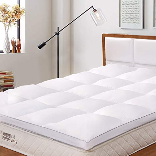 BedStory Mattress Topper Double Size, Hypoallergenic Microfiber Mattress Topper 2.3 Inch thick, Hotel Quality Bed Topper 135x190 cm, 3-Year Warranty