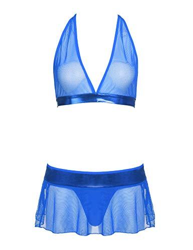 ADOME Damen-Dessous-Set, 3-teilig, Neckholder-Top und Minirock mit G-String, Spitze und Netz-Babydoll. - Blau - Klein