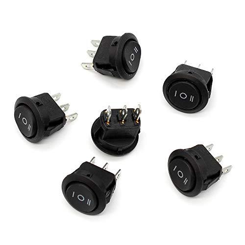 6 Piezas Interruptor Basculante, 3 Pines Interruptor Basculante de Barco Redondo 6A / 250v 10A / 125V para Electrodomésticos de Auto Barco, Negro