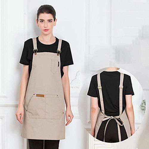 AMITD denim schort, gepersonaliseerde kookschort voor mannen en vrouwen, canvas met tassen, werkschort, verstelbare keuken, bakken, knutselen, BBQ volwassenen schort, bruin Khaki kaki
