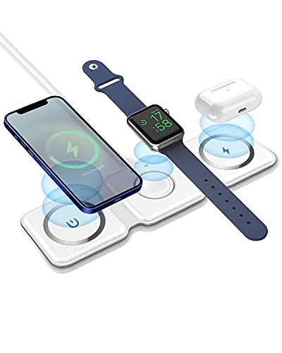 ROBOQi Magnetic 3-in-1 Wireless Charger 15W Foldable Charging Station for iPhone 12/12 Mini/12 Pro/Max, iWatch, AirPods...